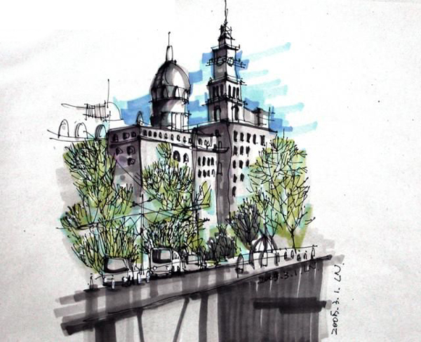欧式庭院马克笔手绘